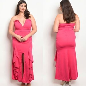 Dresses & Skirts - Plus Size Fuschia Pink Strapless Ruffle Maxi Dress